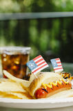 Patriot Themed Hotdogs Stock Image