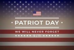 Patriota día 9 /11 de septiembre de 11, fondo 2001 del vector de la bandera Stock de ilustración