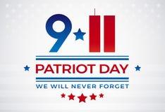 9/11 patriota día los E.E.U.U. 11 de septiembre, nunca olvidaremos el vec del texto Stock de ilustración