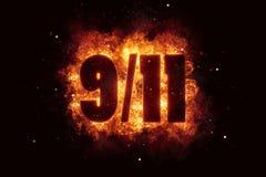 Patriota dnia Września 11 plakatowi 911 pożarniczy tekst wybucha płomienie ilustracja wektor