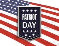 Patriota dzień Flaga państowowa na białym tle Obrazy Stock