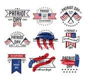 Patriota dzień na 11th Wrześni emblematy ustawiający Zdjęcia Stock