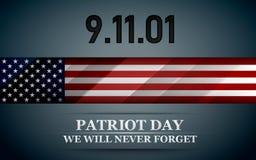 Patriota dzień Projekt dla pocztówki, ulotka, plakat, sztandar 11th Wrzesień Nigdy Zapominamy również zwrócić corel ilustracji we Ilustracji