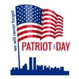 Patriotdag, de Amerikaanse Vlag van de Handgreep Patriot Dag 11 September, 2001 Ontwerpmalplaatje, zullen wij nooit vergeten, Vec vector illustratie