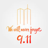 Patriotdag, eenvoudige herdenkingsontwerpillustratie 11 september Stock Afbeelding