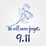 Patriotdag, eenvoudige herdenkingsontwerpillustratie 11 september Royalty-vrije Stock Afbeeldingen
