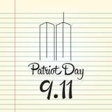 Patriotdag, eenvoudige herdenkingsontwerpillustratie 11 september Stock Fotografie