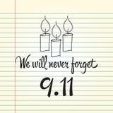 Patriotdag, eenvoudige herdenkingsontwerpillustratie 11 september Stock Afbeeldingen