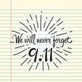 Patriotdag, eenvoudige herdenkingsontwerpillustratie 11 september Stock Foto's