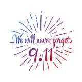 Patriotdag, enkel minnes- designillustration 11 september Fotografering för Bildbyråer