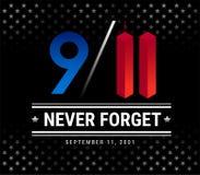 9/11 Patriotdag, 11 September, zullen wij nooit vectoril vergeten Stock Illustratie