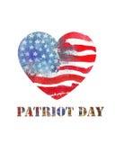 Patriotdag 11th september Formad ameri för vattenfärg hjärta Arkivbild