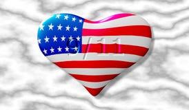Patriotdag 11th september Hjärta med texturen av amerikanska flaggan mot bakgrunden av en marmortjock skiva Vektor dåligt vektor illustrationer