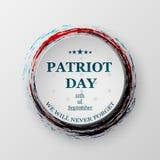 Patriotdag 11th september Planlägg för vykortet, reklambladet, affischen, baner stock illustrationer