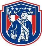 Patriote américain jugeant le bouclier de fusil de baïonnette rétro illustration de vecteur