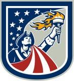 Patriote américain supportant le bouclier de drapeau de torche illustration de vecteur
