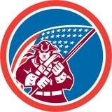 Patriote américain tenant le cercle de drapeau illustration libre de droits