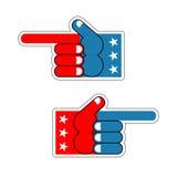 Patriote des Etats-Unis de doigt de mousse Symbole américain de main Expression d'emo Photo libre de droits
