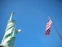 Patriotic. Statue of Liberty and American Flag Stock Photos