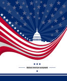 Patriotic American background with abstract USA flag and White house. Vector Stock Image