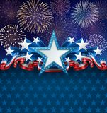 Patriotic American Background with Fireworks Stock Photos