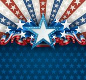 Patriotic American Background with Star. Patriotic background with star shape banner and ribbons, EPS 10, contains transparency Royalty Free Stock Images