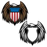 Patriotic Eagle Emblem with Shield Vector Illustration in Full Color and Black Outline. Patriotic American bald eagle, with wings and shield, full color and vector illustration