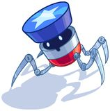 Patriotic American bug robot vector cartoon Royalty Free Stock Photos