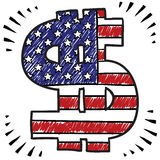 Patriotic American dollar sketch Royalty Free Stock Images