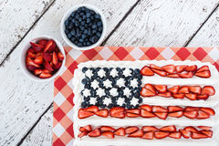Patriotic American flag cake stock photography