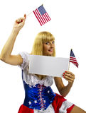 Patriotic American Girl with two flags. Isolated on a white background Royalty Free Stock Photography