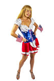 Patriotic American Girl with two flags Royalty Free Stock Image