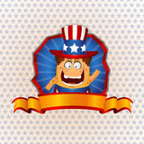 Patriotic American sign. Illustration of happy cartoon figure with stars and stripes American hat with blank ribbon or banner and copy space Stock Image