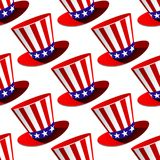 Patriotic American top hat seamless pattern Stock Images