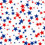 Patriotic American Vector Seamless Pattern. With Red and Blue Stars on White Background Royalty Free Stock Photos