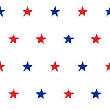 Patriotic American Vector Seamless Pattern. With Red and Blue Stars on White Background Stock Photography