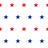 Patriotic American Vector Seamless Pattern. With Red and Blue Stars on White Background Royalty Free Stock Photography