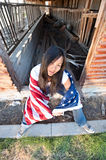 Patriotic Asian woman Stock Photo