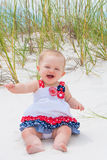 Patriotic Baby Girl at the Beach Royalty Free Stock Photography