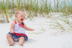 Patriotic Baby Girl at the Beach Royalty Free Stock Photos
