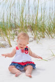 Patriotic Baby Girl at the Beach Stock Photos
