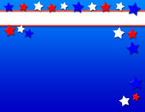 Patriotic Background. Red, white and blue stars on a blue gradient background with white banner area for text royalty free illustration