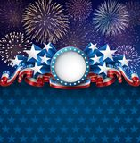Patriotic American Background with Fireworks Royalty Free Stock Photos