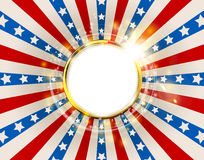 Patriotic background United States of America with sparks. USA flag color round frame. American Memorial Day or Independence Day golden ring concept vector Stock Illustration