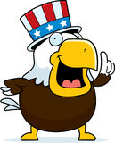 Patriotic Bald Eagle. A cartoon bald eagle with a patriotic American hat on Stock Image