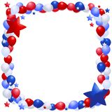 Patriotic balloon Frame. Frame of patriotic balloons and stars Royalty Free Stock Image