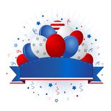 Patriotic banner with balloons. Blue and red patriotic stars and stripes balloons collection with a banner Stock Photo