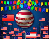 Patriotic banner, dedicated to the 4th of July, USA Independence Day. Garlands of colorful flags, striped symbolic globe, painted in the colors of USA and Stock Photo