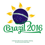 Patriotic banner for website template, cards, posters, logo, brochure.. Text Brazil 2016 on the white Stock Image