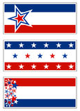 Patriotic Banners - USA. Patriotic decorations with red white and blue stars and stripes. Grouped for banners, signs, and bumper stickers stock illustration